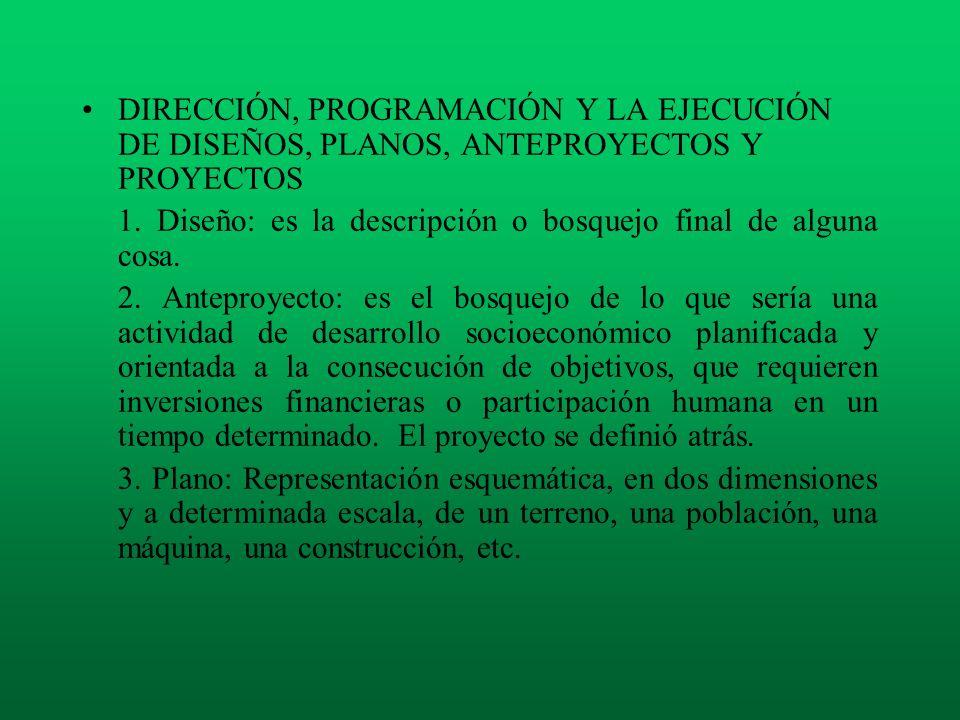 DIRECCIÓN, PROGRAMACIÓN Y LA EJECUCIÓN DE DISEÑOS, PLANOS, ANTEPROYECTOS Y PROYECTOS