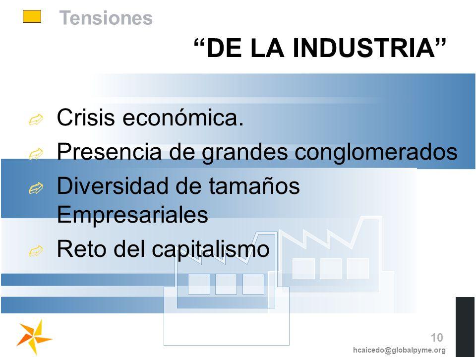 DE LA INDUSTRIA Crisis económica. Presencia de grandes conglomerados