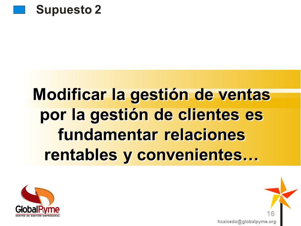 Supuesto 2Modificar la gestión de ventas por la gestión de clientes es fundamentar relaciones rentables y convenientes…