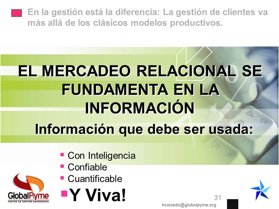 Y Viva! EL MERCADEO RELACIONAL SE FUNDAMENTA EN LA INFORMACIÓN
