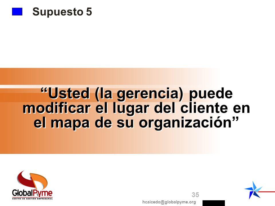 Supuesto 5Supuesto # 5. Usted (la gerencia) puede modificar el lugar del cliente en el mapa de su organización