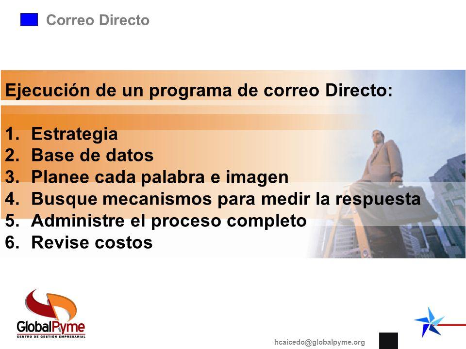 Ejecución de un programa de correo Directo: Estrategia Base de datos