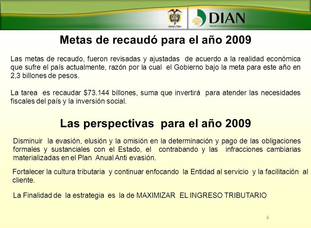 Metas de recaudó para el año 2009
