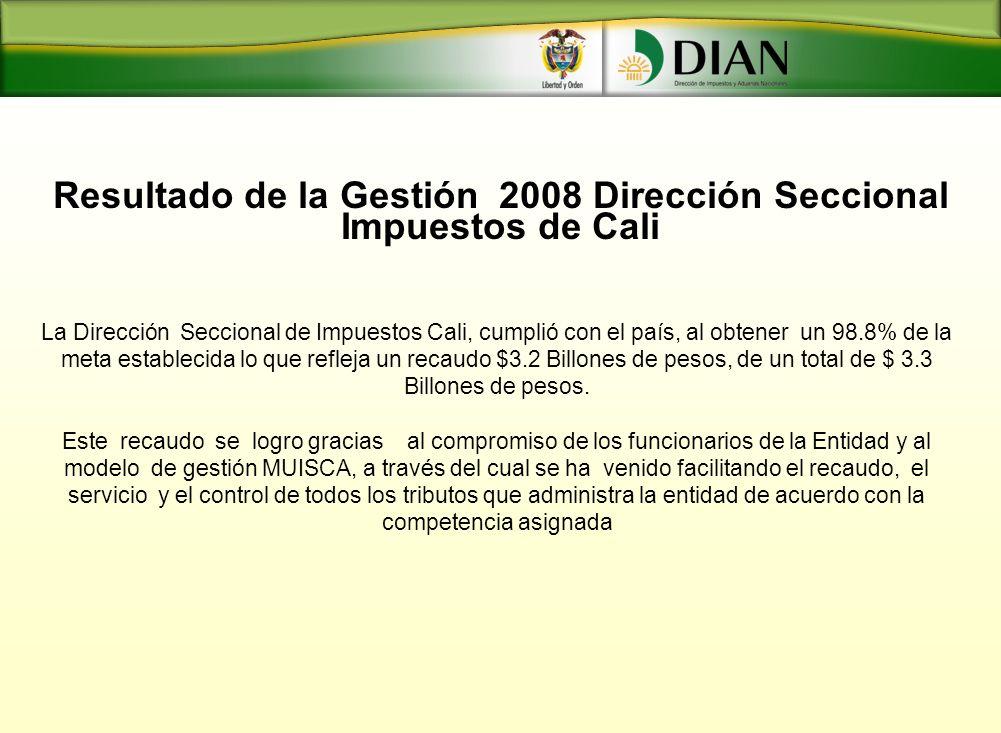 Resultado de la Gestión 2008 Dirección Seccional Impuestos de Cali