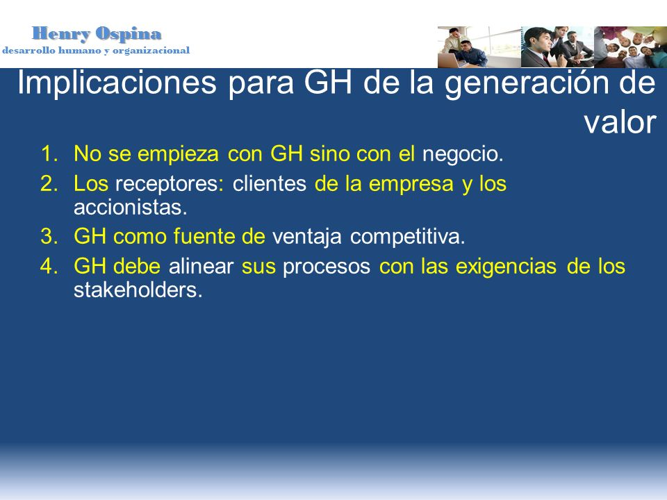 Implicaciones para GH de la generación de valor