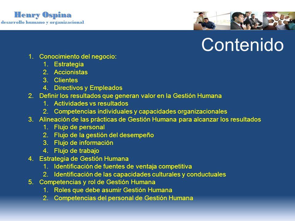 Contenido Conocimiento del negocio: Estrategia Accionistas Clientes