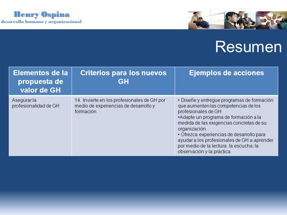 Elementos de la propuesta de valor de GH Criterios para los nuevos GH