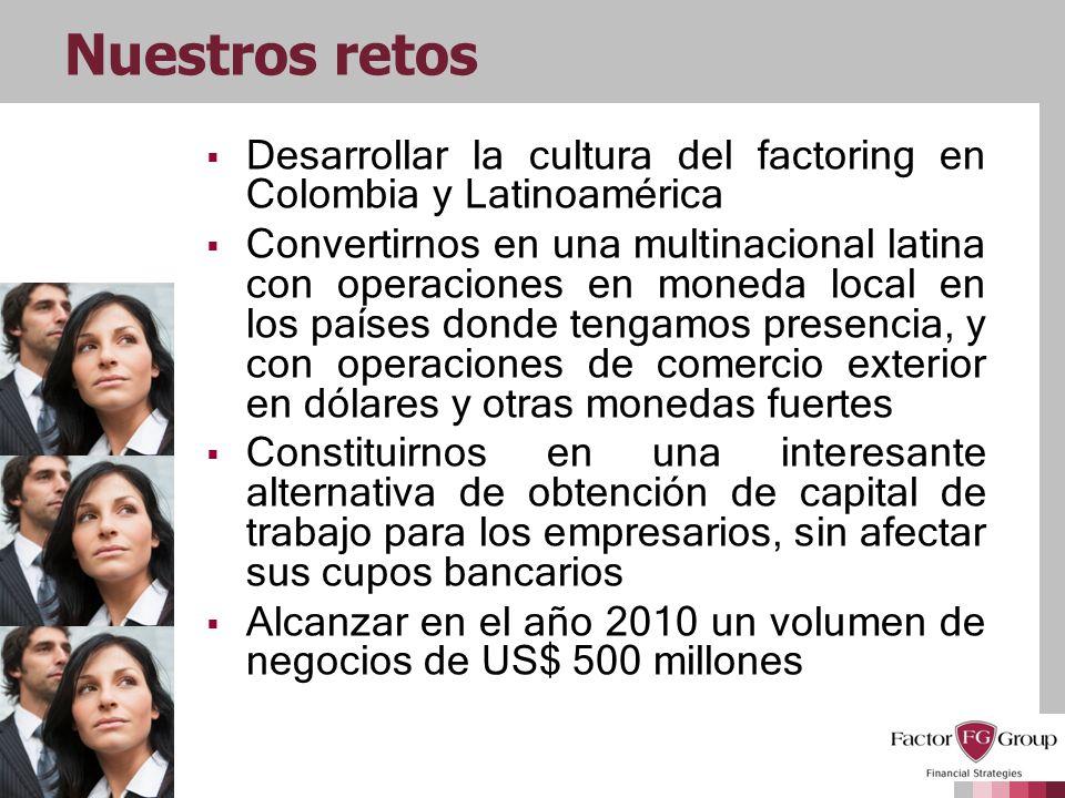 Nuestros retosDesarrollar la cultura del factoring en Colombia y Latinoamérica.