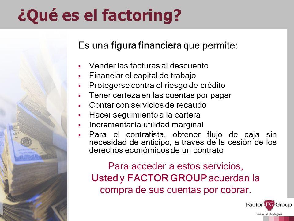 ¿Qué es el factoring Es una figura financiera que permite: