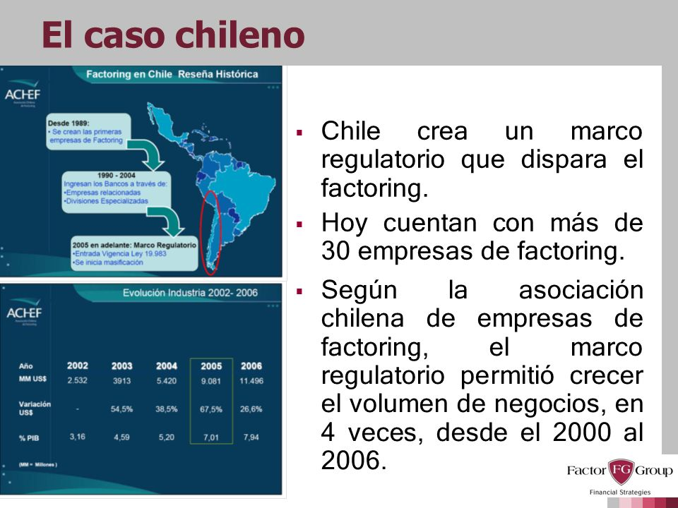 El caso chilenoChile crea un marco regulatorio que dispara el factoring. Hoy cuentan con más de 30 empresas de factoring.