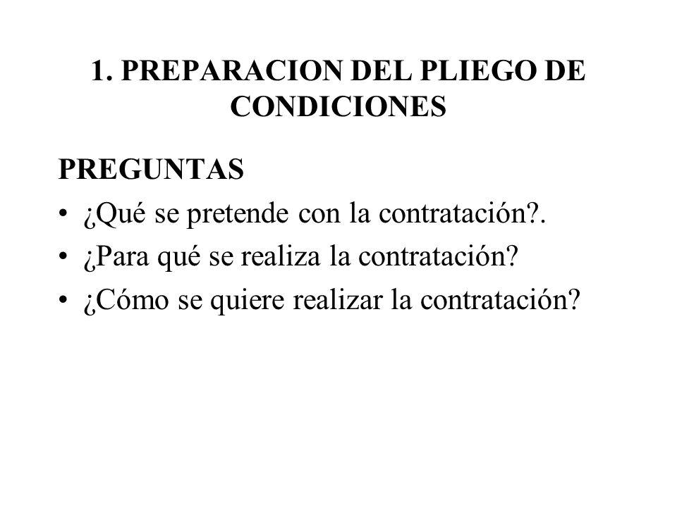 1. PREPARACION DEL PLIEGO DE CONDICIONES