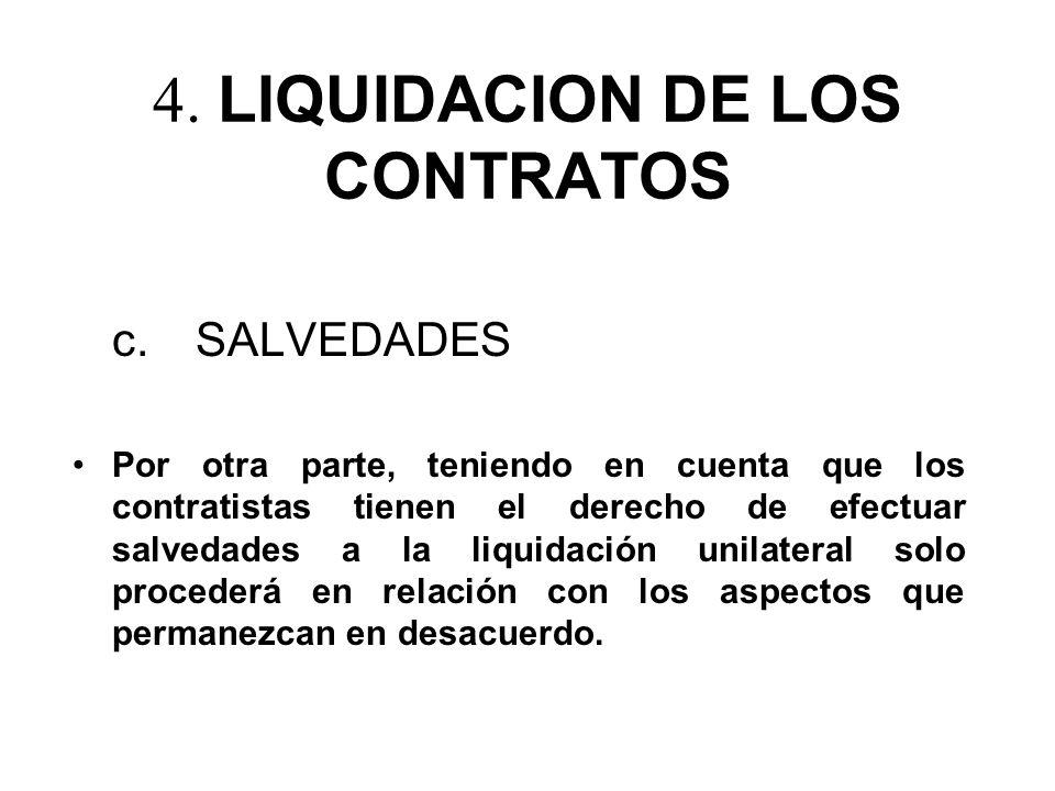 4. LIQUIDACION DE LOS CONTRATOS