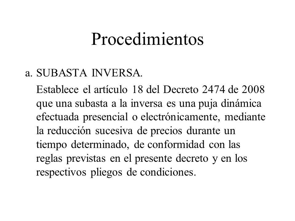 Procedimientos a. SUBASTA INVERSA.