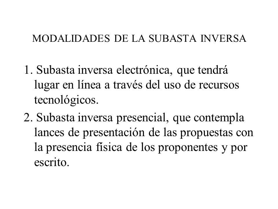 MODALIDADES DE LA SUBASTA INVERSA
