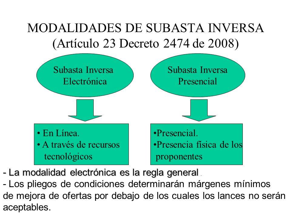 MODALIDADES DE SUBASTA INVERSA (Artículo 23 Decreto 2474 de 2008)