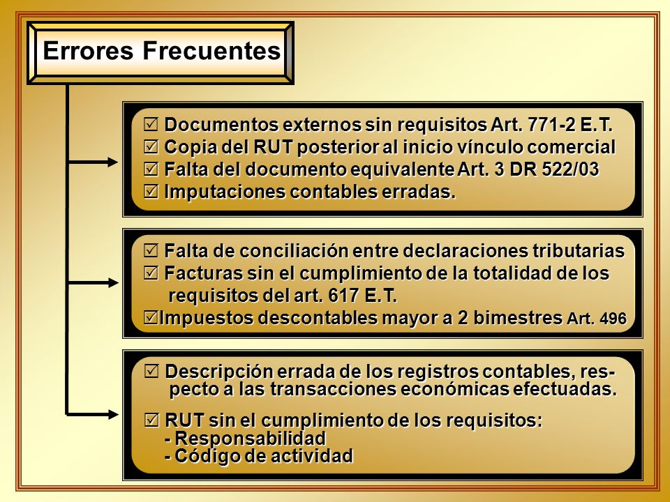 Errores Frecuentes Documentos externos sin requisitos Art. 771-2 E.T.