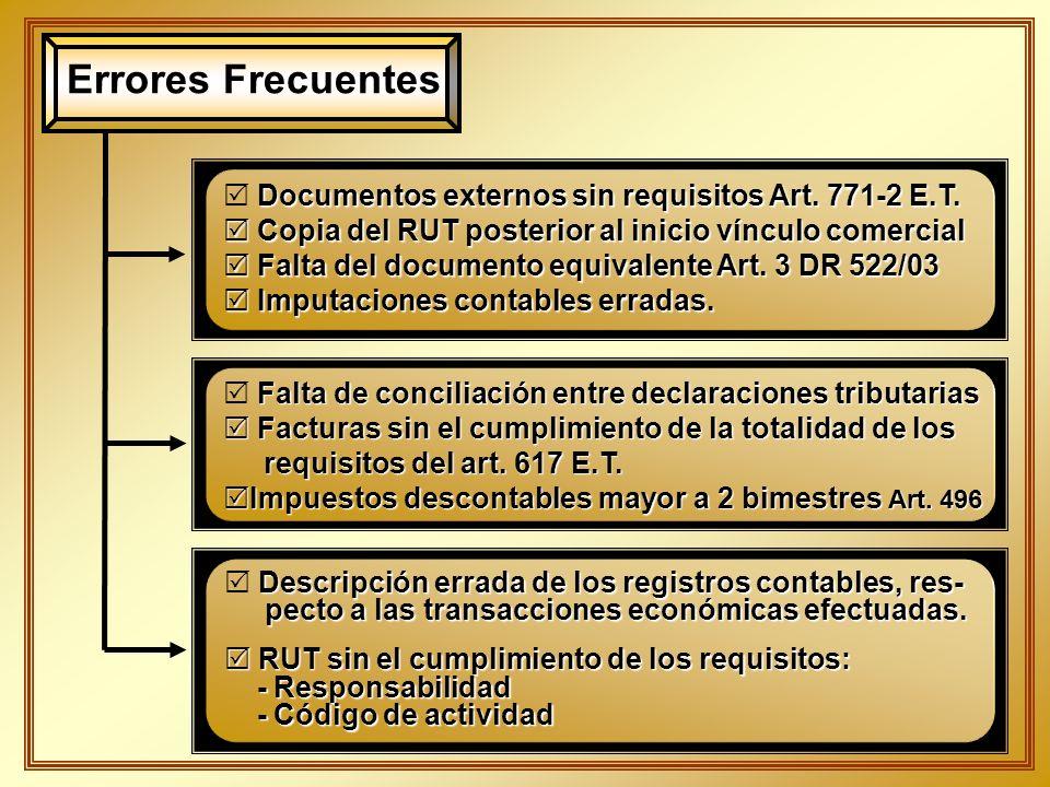 Errores Frecuentes Documentos externos sin requisitos Art. 771-2 E.T.