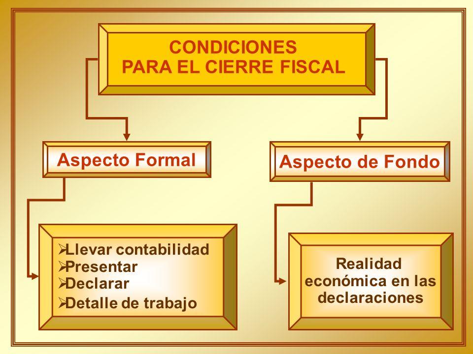 CONDICIONES PARA EL CIERRE FISCAL Aspecto Formal Aspecto de Fondo