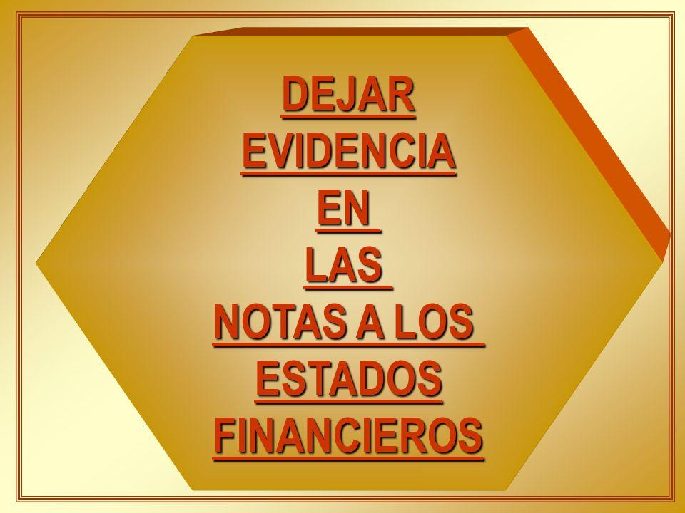 DEJAR EVIDENCIA EN LAS NOTAS A LOS ESTADOS FINANCIEROS