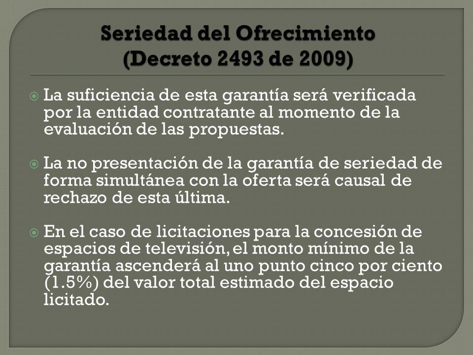 Seriedad del Ofrecimiento (Decreto 2493 de 2009)