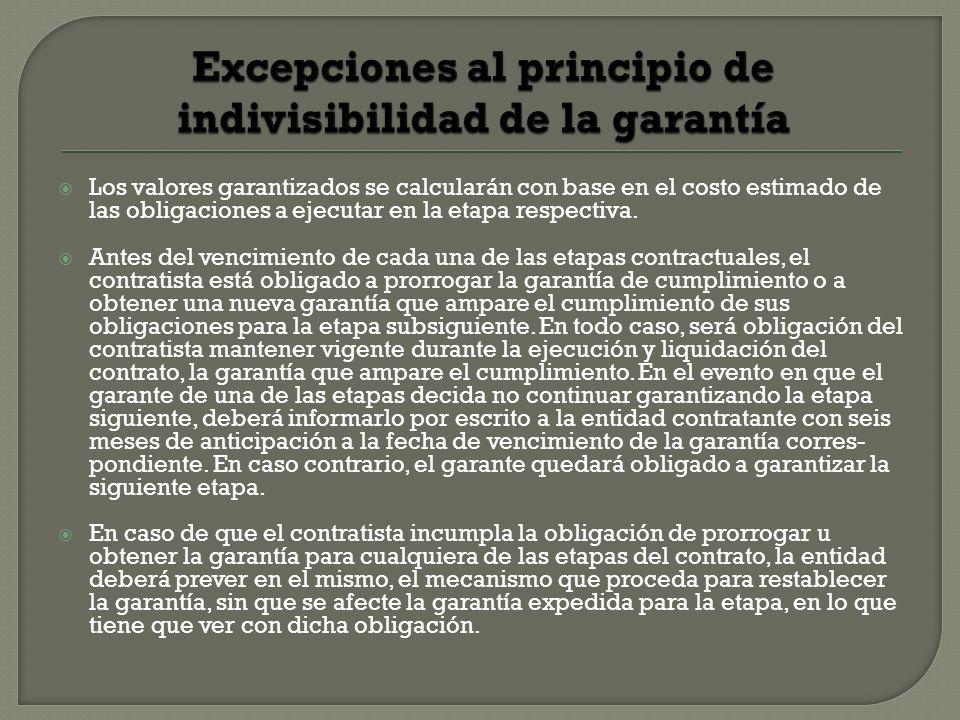 Excepciones al principio de indivisibilidad de la garantía