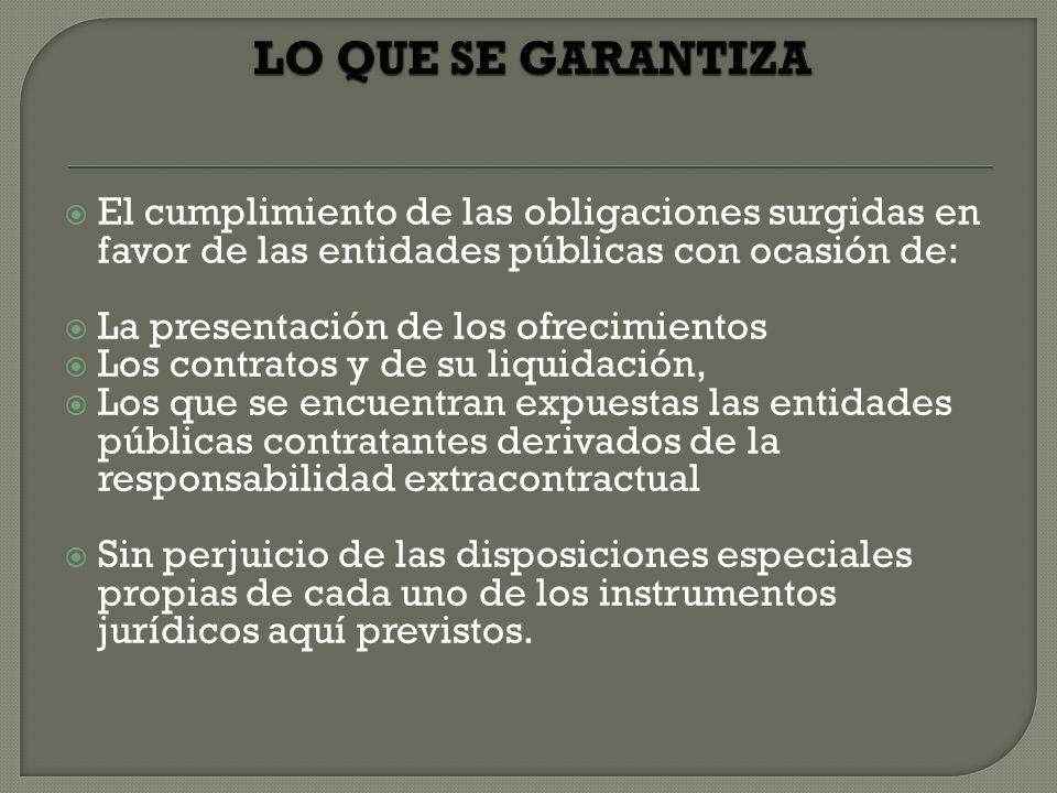 LO QUE SE GARANTIZA El cumplimiento de las obligaciones surgidas en favor de las entidades públicas con ocasión de: