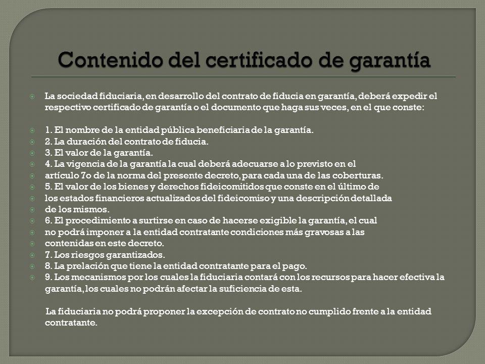 Contenido del certificado de garantía