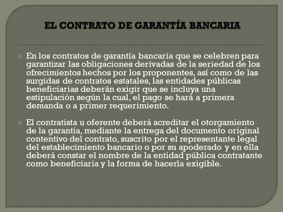 EL CONTRATO DE GARANTÍA BANCARIA