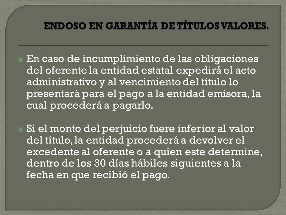 ENDOSO EN GARANTÍA DE TÍTULOS VALORES.