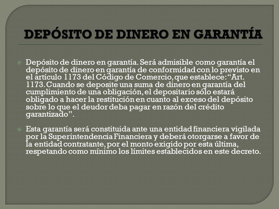 DEPÓSITO DE DINERO EN GARANTÍA
