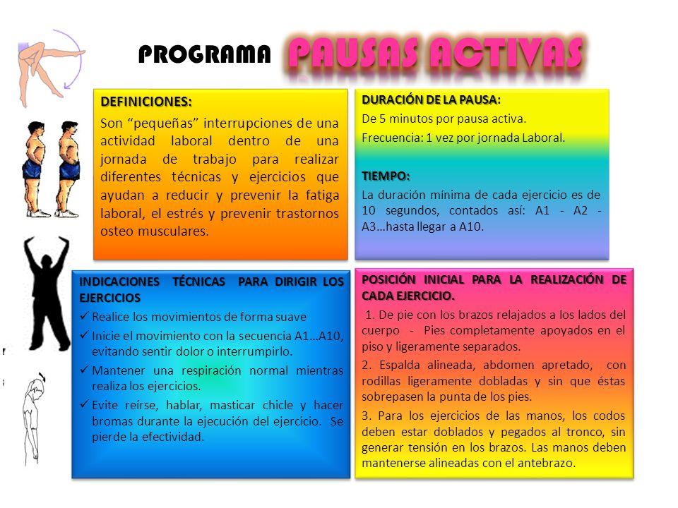 PAUSAS ACTIVAS PROGRAMA DEFINICIONES: