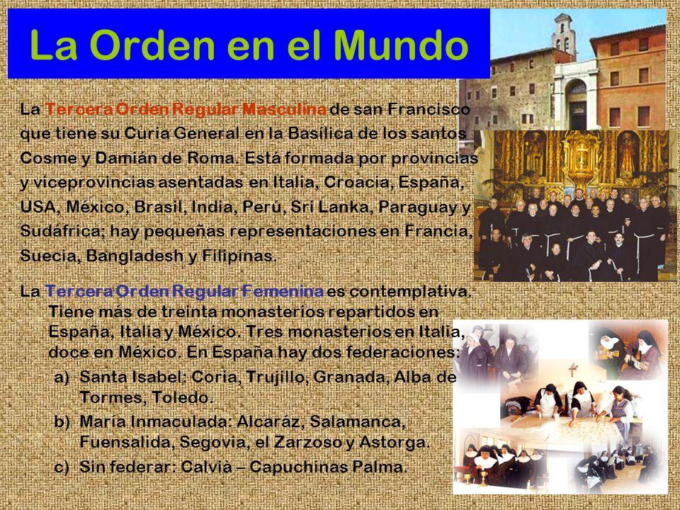 La Orden en el MundoLa Tercera Orden Regular Masculina de san Francisco. que tiene su Curia General en la Basílica de los santos.