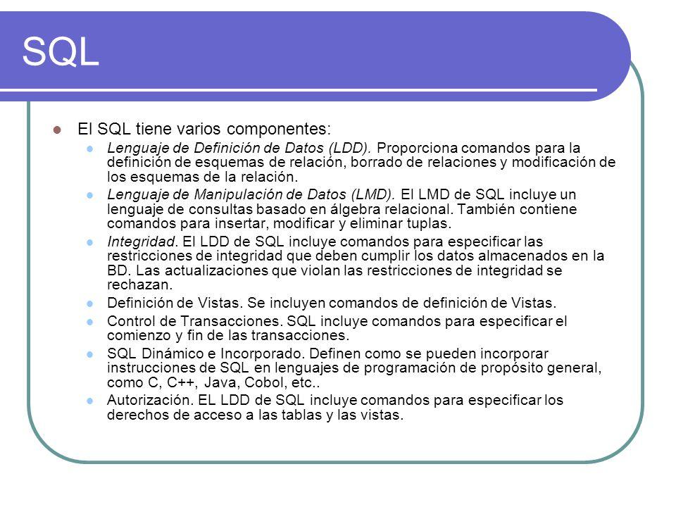 SQL El SQL tiene varios componentes: