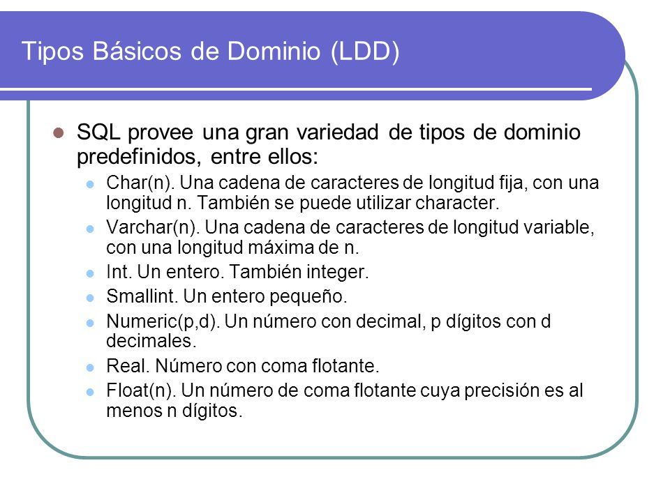 Tipos Básicos de Dominio (LDD)