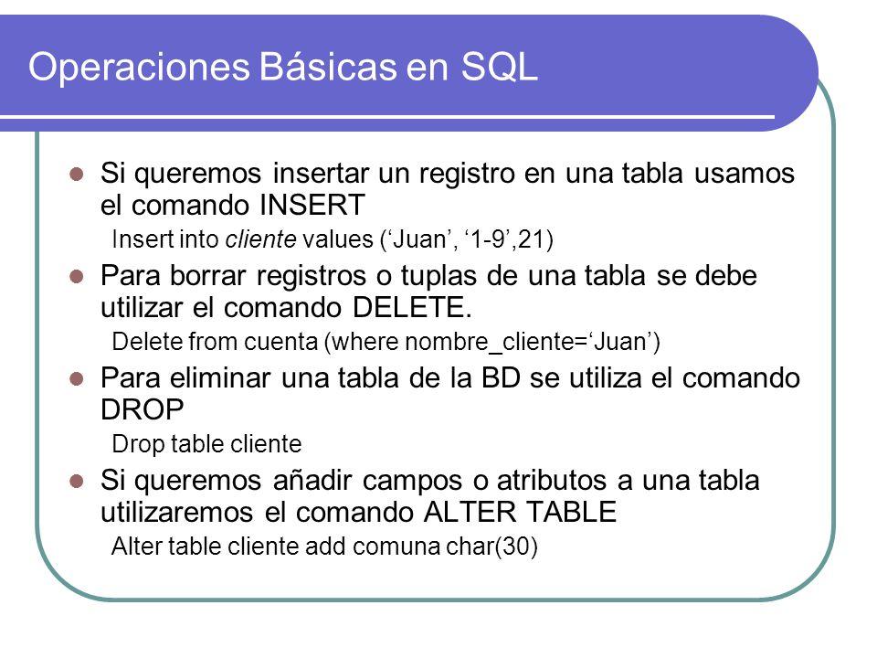 Operaciones Básicas en SQL