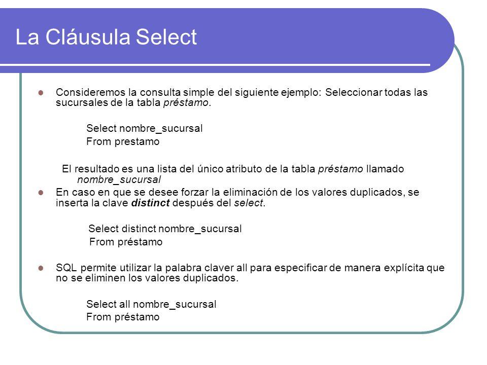 La Cláusula SelectConsideremos la consulta simple del siguiente ejemplo: Seleccionar todas las sucursales de la tabla préstamo.
