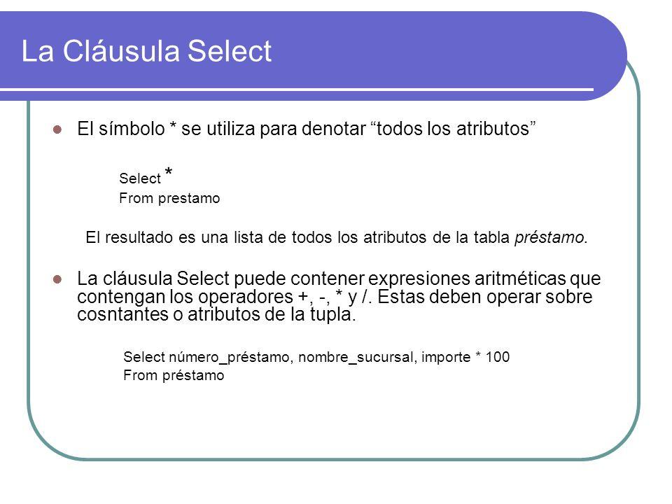 La Cláusula Select El símbolo * se utiliza para denotar todos los atributos Select * From prestamo.