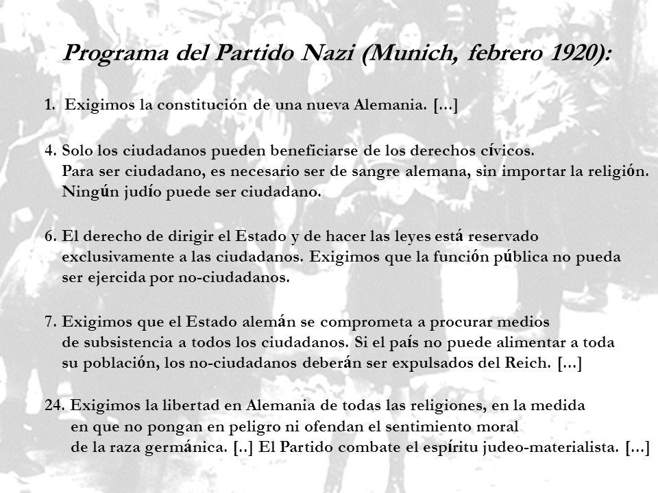 Programa del Partido Nazi (Munich, febrero 1920):