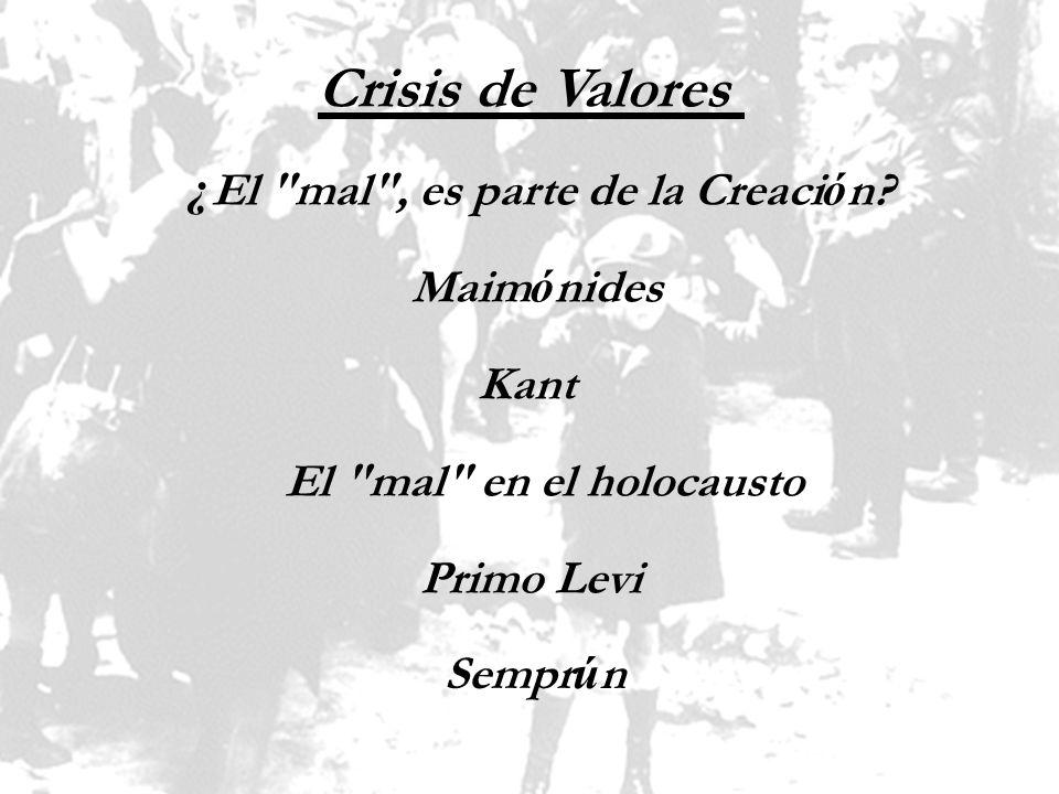 Crisis de Valores ¿El mal , es parte de la Creación Maimónides Kant