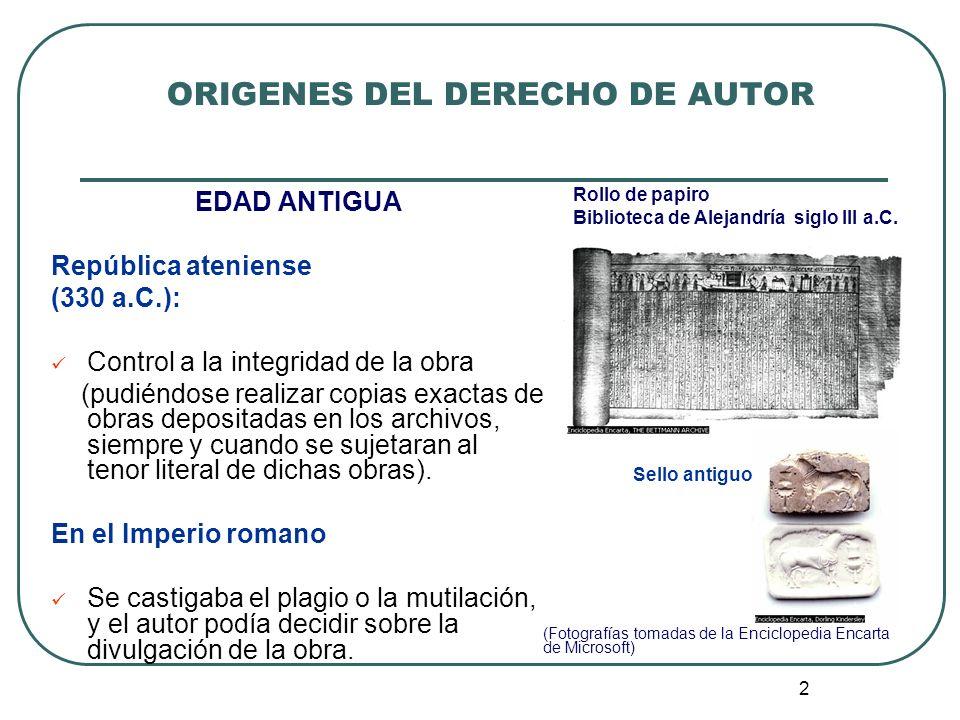 ORIGENES DEL DERECHO DE AUTOR