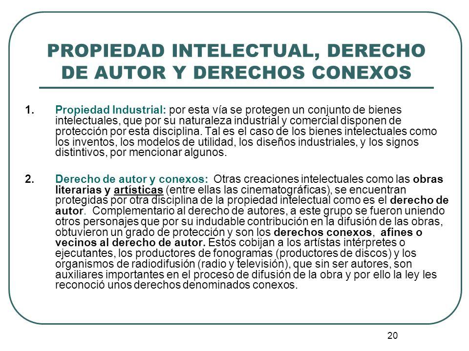 PROPIEDAD INTELECTUAL, DERECHO DE AUTOR Y DERECHOS CONEXOS