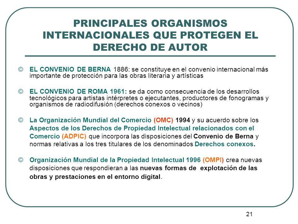 PRINCIPALES ORGANISMOS INTERNACIONALES QUE PROTEGEN EL DERECHO DE AUTOR
