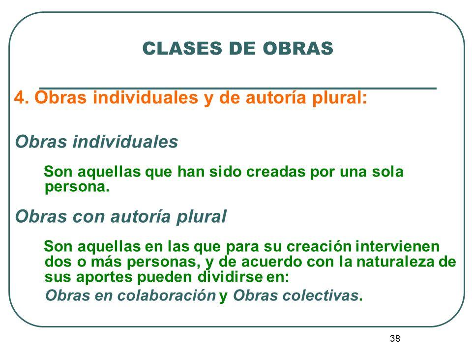 4. Obras individuales y de autoría plural: Obras individuales