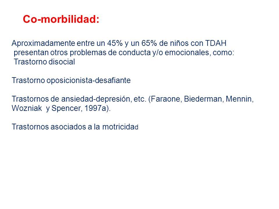 Co-morbilidad: Aproximadamente entre un 45% y un 65% de niños con TDAH