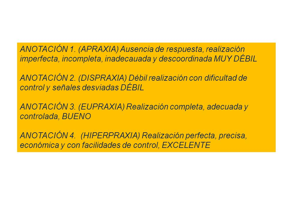 ANOTACIÓN 1. (APRAXIA) Ausencia de respuesta, realización imperfecta, incompleta, inadecauada y descoordinada MUY DÉBIL
