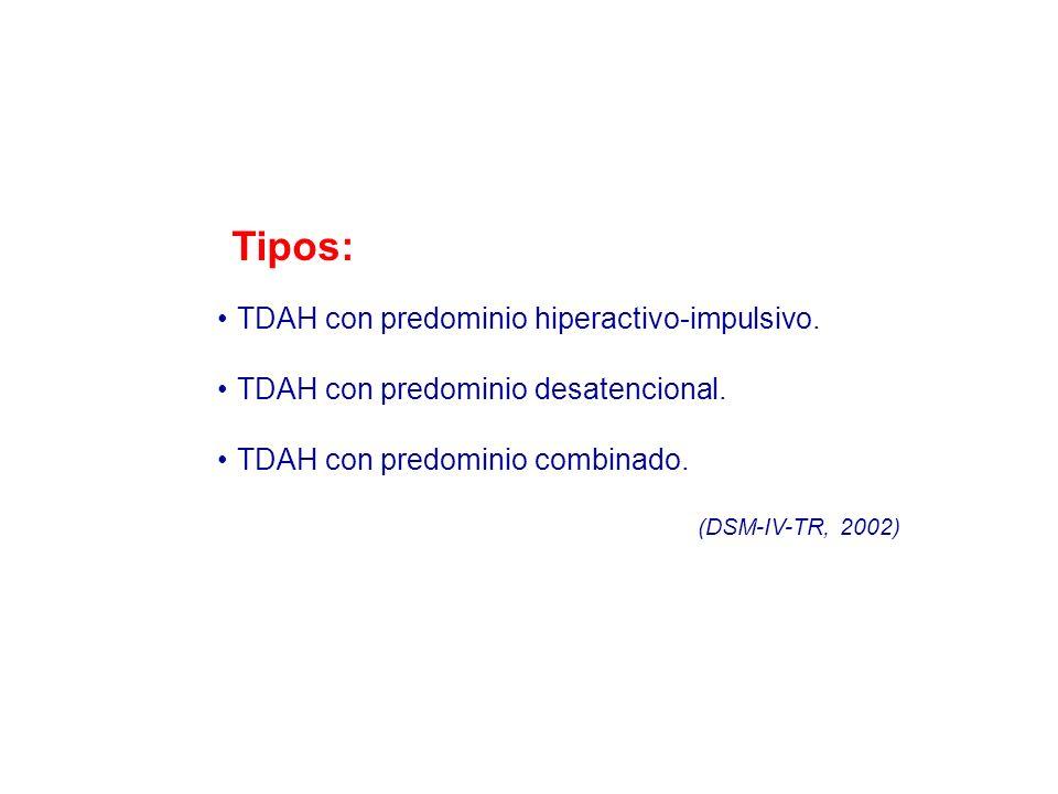 Tipos: TDAH con predominio hiperactivo-impulsivo.