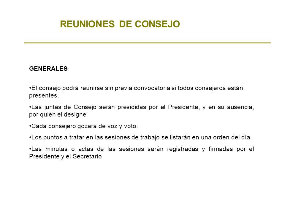 REUNIONES DE CONSEJO GENERALES
