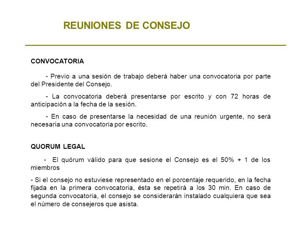 REUNIONES DE CONSEJO CONVOCATORIA