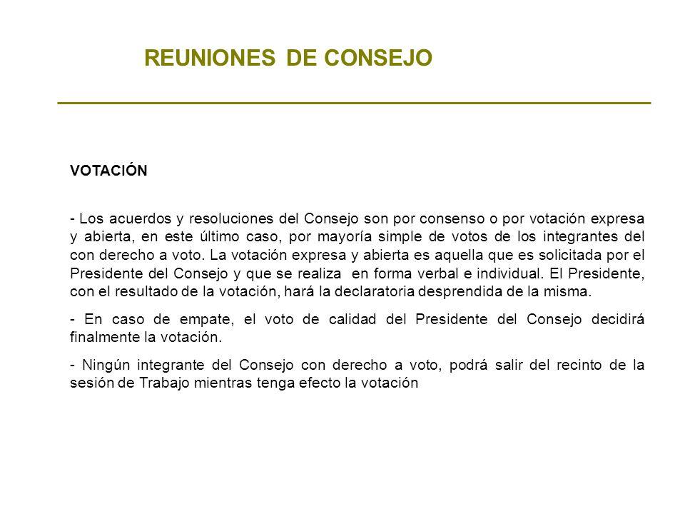 REUNIONES DE CONSEJO VOTACIÓN