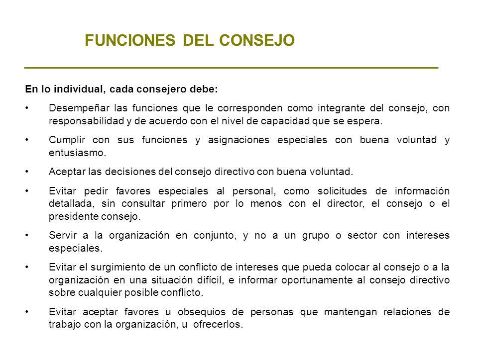 FUNCIONES DEL CONSEJO En lo individual, cada consejero debe:
